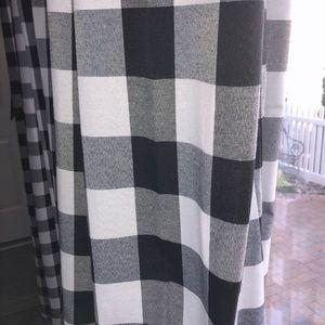 4 Black and white buffalo plaid curtains